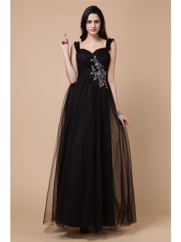 Ankle-Length A-Line/Princess Straps Sleeveless Beading Net Dresses