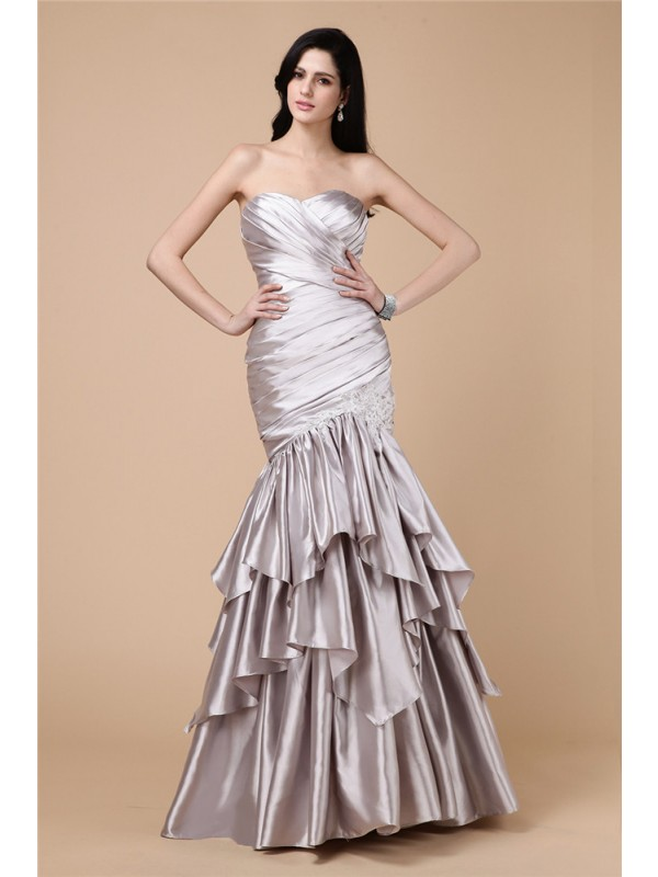 Floor-Length Trumpet/Mermaid Strapless Sleeveless Pleats Elastic Woven Satin Dresses