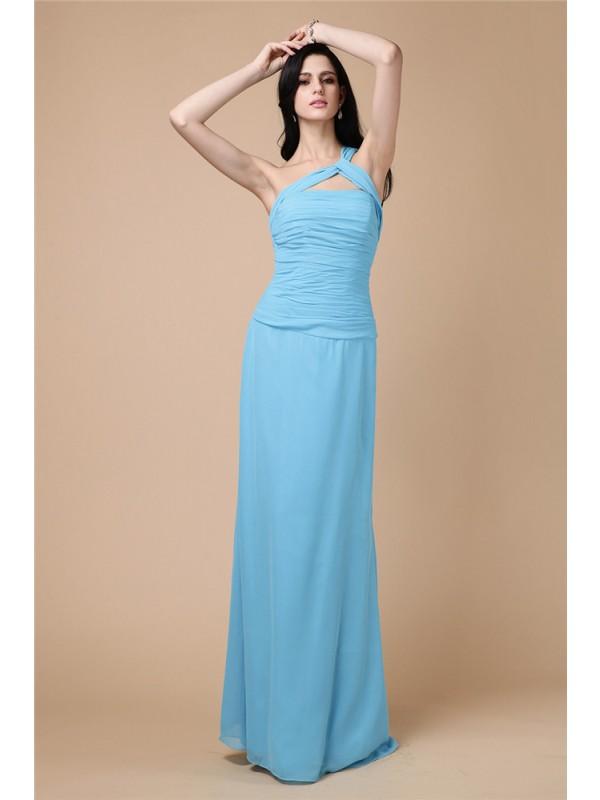 Floor-Length Sheath/Column One-Shoulder Sleeveless Pleats Chiffon Dresses