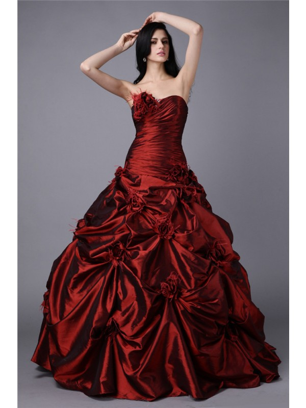 Floor-Length Ball Gown Strapless Sleeveless Hand-Made Flower Taffeta Dresses