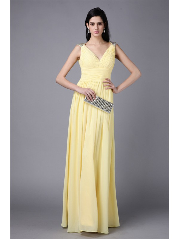 Floor-Length Sheath/Column V-neck Sleeveless Beading Chiffon Dresses