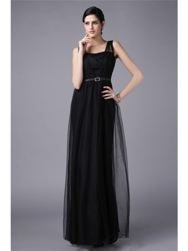 Floor-Length Sheath/Column Straps Sleeveless Sash/Ribbon/Belt Net Dresses