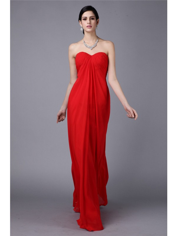Floor-Length Sheath/Column Strapless Sleeveless Pleats Chiffon Dresses