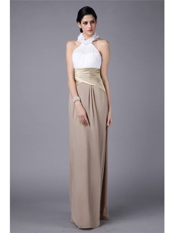f61dc44a3f3 Floor-Length Sheath Column High Neck Sleeveless Ruffles Elastic Woven Satin  Bridesmaid Dresses