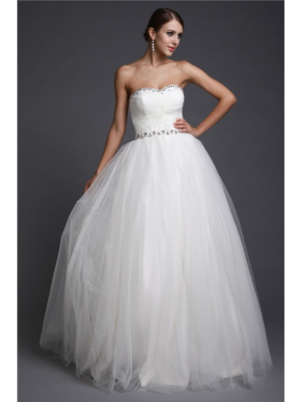 Floor-Length A-Line/Princess Sweetheart Sleeveless Beading Net Dresses