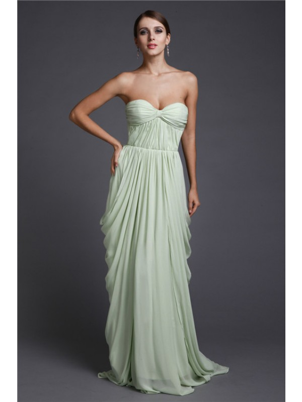 Floor-Length Sheath/Column Sweetheart Sleeveless Ruffles Chiffon Dresses