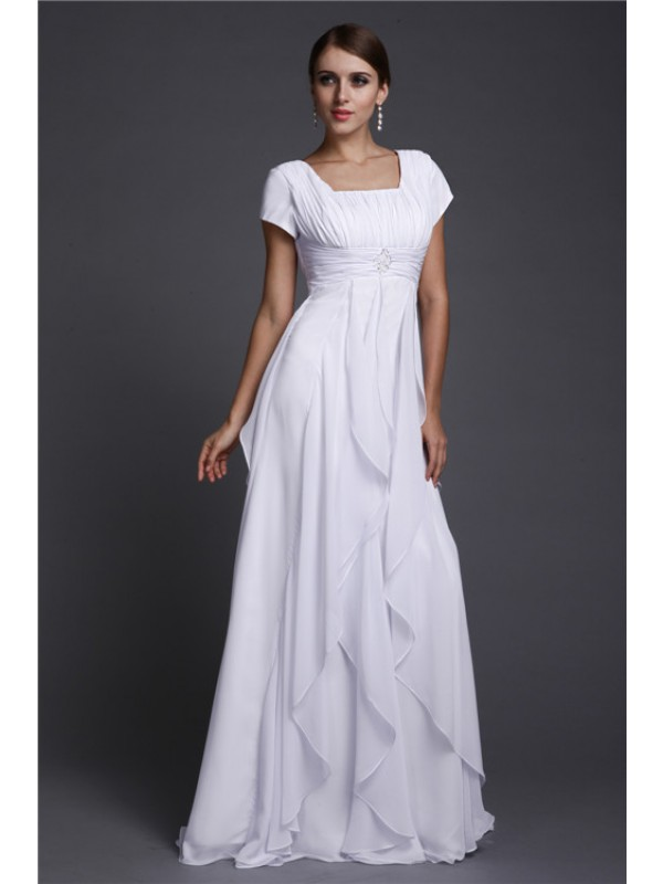 Floor-Length A-Line/Princess Square Short Sleeves Ruffles Chiffon Dresses