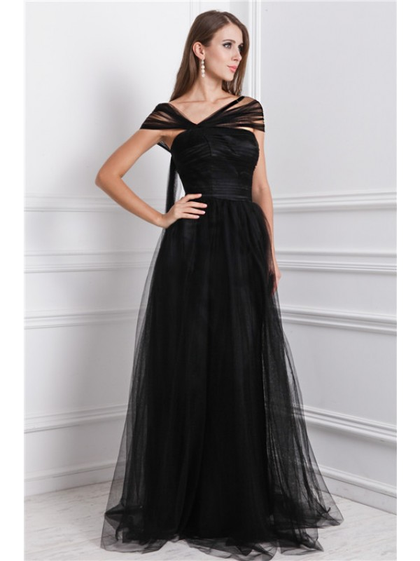 Floor-Length A-Line/Princess Bateau Sleeveless Ruffles Net Dresses