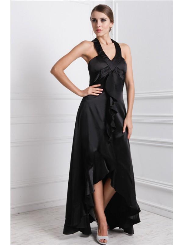 Asymmetrical A-Line/Princess Bateau Sleeveless Ruffles Silk like Satin Dresses