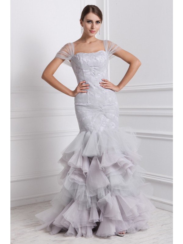 Floor-Length Trumpet/Mermaid Straps Short Sleeves Ruffles Organza Dresses