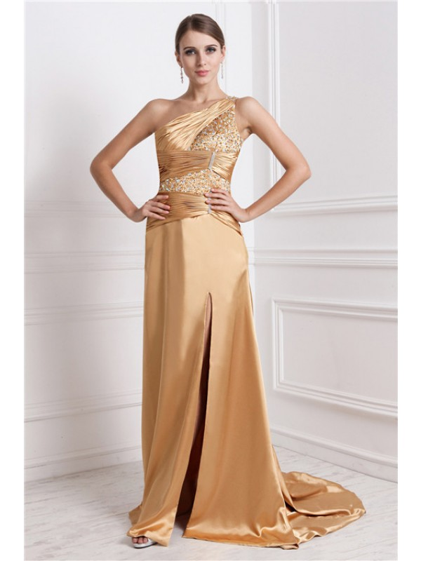 Sweep/Brush Train A-Line/Princess One-Shoulder Sleeveless Beading Elastic Woven Satin Dresses