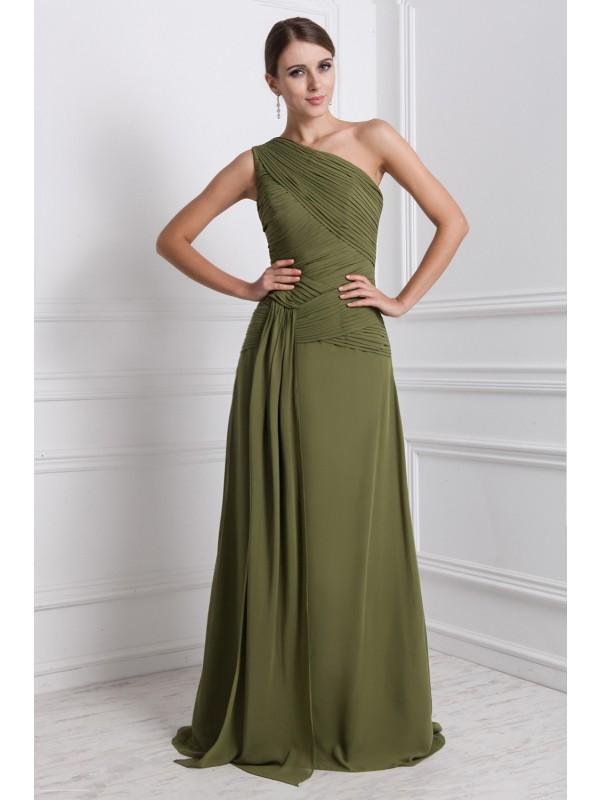 Floor-Length A-Line/Princess One-Shoulder Sleeveless Ruffles Chiffon Dresses