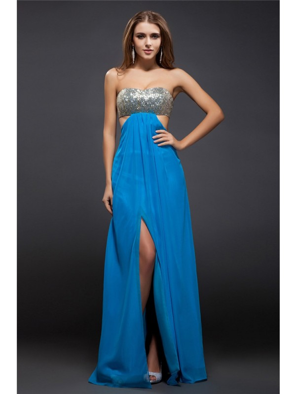 Floor-Length Sheath/Column Strapless Sleeveless Sequin Chiffon Dresses