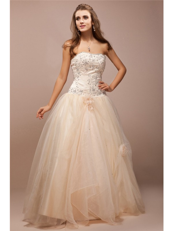 Floor-Length Ball Gown Strapless Sleeveless Beading Net Dresses