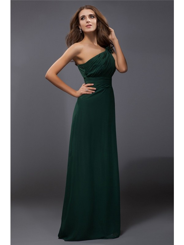Floor-Length Sheath/Column One-Shoulder Sleeveless Ruffles Chiffon Dresses