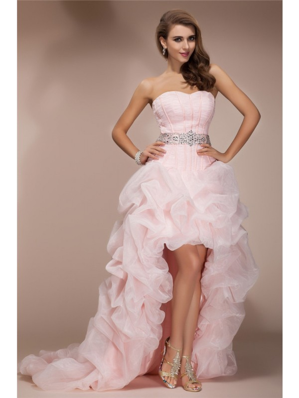 Asymmetrical A-Line/Princess Sweetheart Sleeveless Beading Organza Dresses