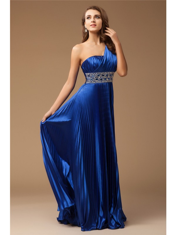 Floor-Length Sheath/Column One-Shoulder Sleeveless Beading Elastic Woven Satin Dresses