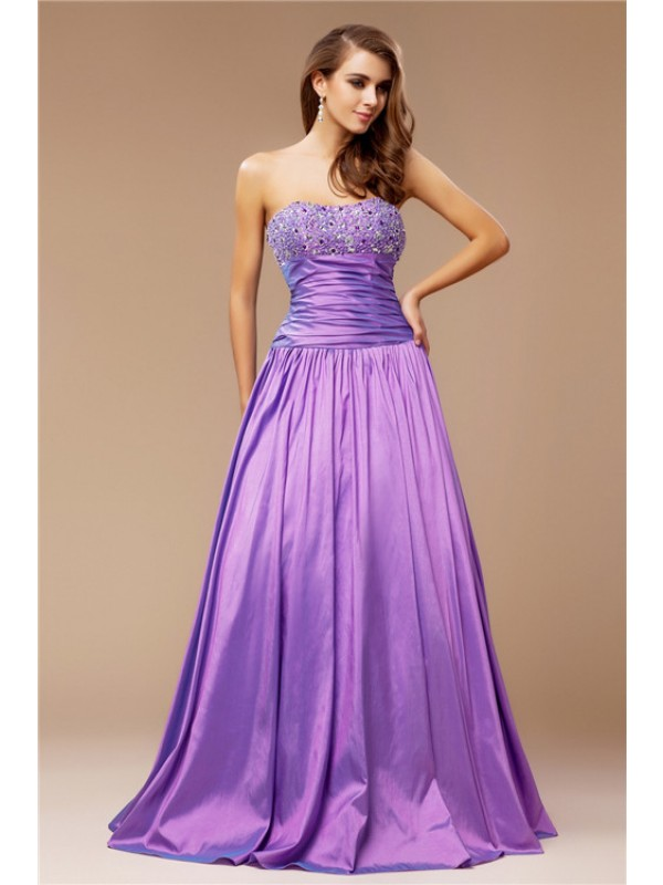Floor-Length A-Line/Princess Strapless Sleeveless Beading Taffeta Dresses