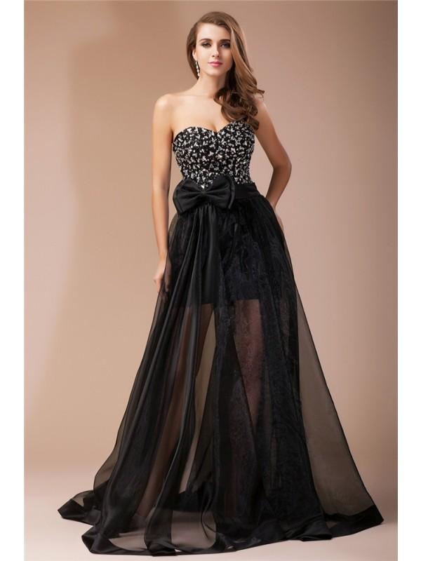 Floor-Length Sheath/Column Sweetheart Sleeveless Beading Elastic Woven Satin Dresses