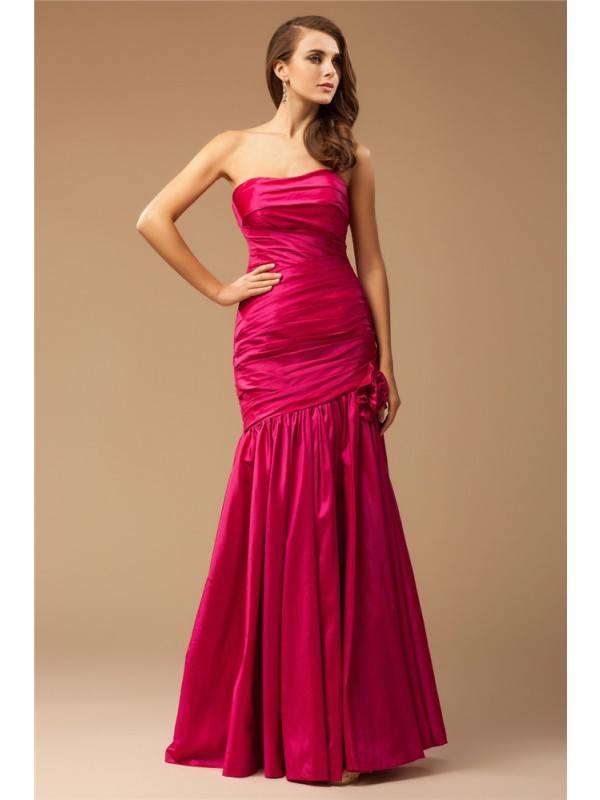 Floor-Length Trumpet/Mermaid Strapless Sleeveless Ruffles Taffeta Dresses