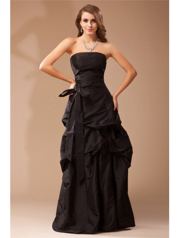 Floor-Length A-Line/Princess Strapless Sleeveless Ruffles Taffeta Dresses