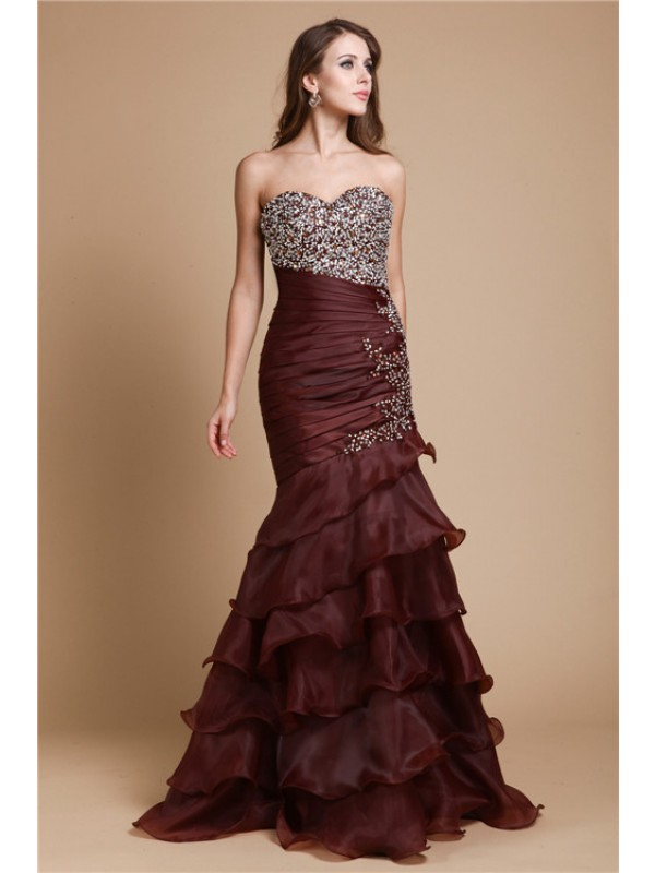 Floor-Length Trumpet/Mermaid Sweetheart Sleeveless Beading Organza Dresses