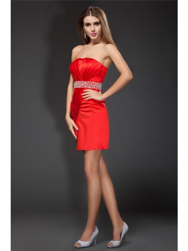 Short/Mini Sheath/Column Strapless Sleeveless Beading Satin Dresses