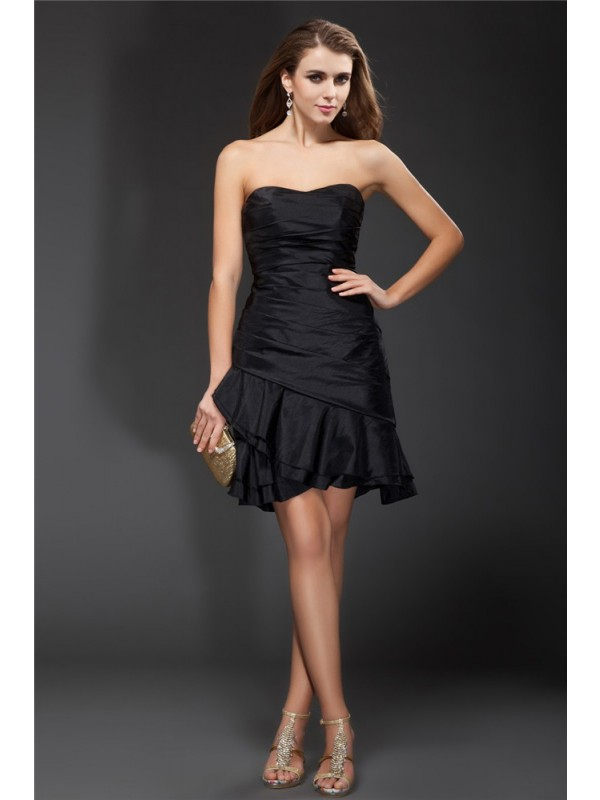 Short/Mini A-Line/Princess Strapless Sleeveless Ruffles Taffeta Dresses