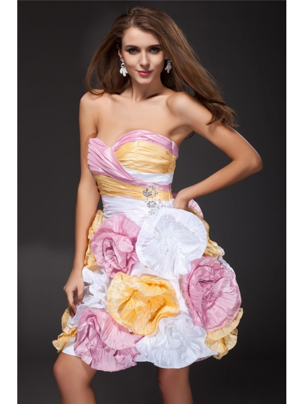 Short/Mini A-Line/Princess Sweetheart Sleeveless Ruffles Taffeta Dresses