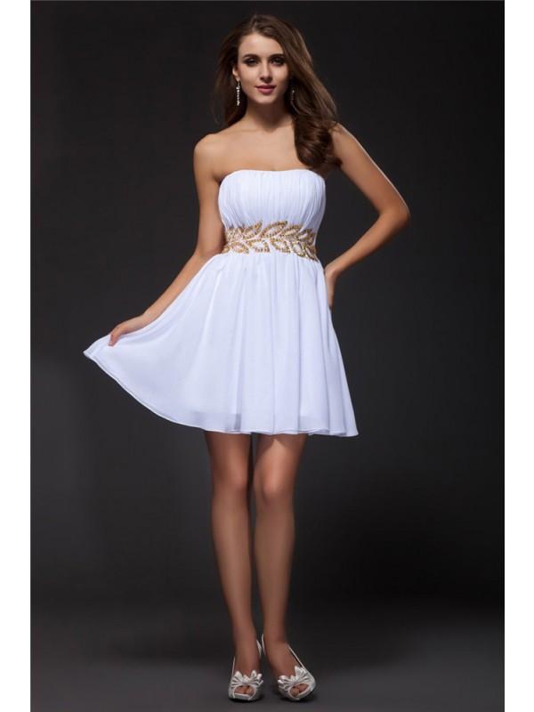 Short/Mini A-Line/Princess Strapless Sleeveless Beading Chiffon Dresses