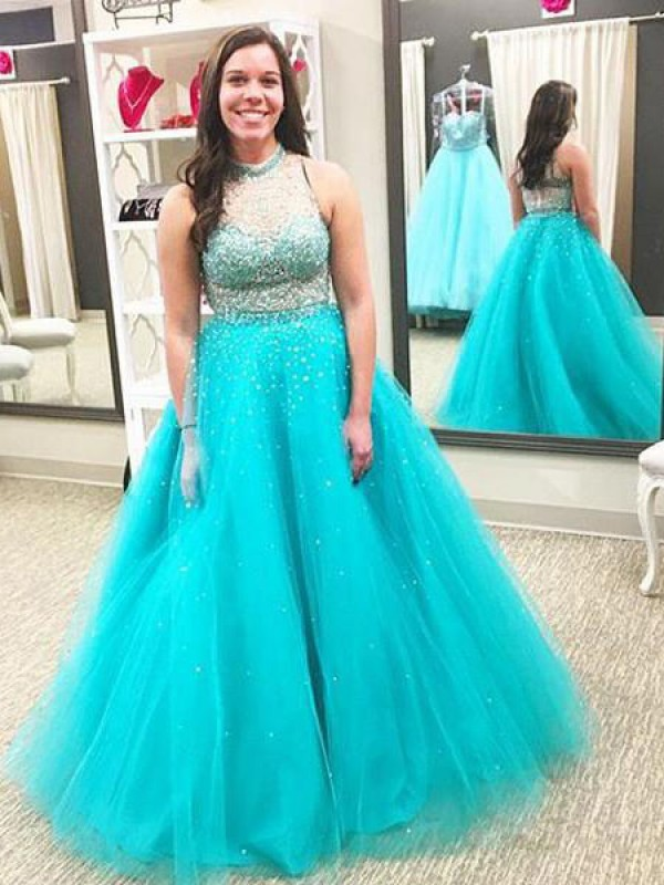 Floor-Length Ball Gown High Neck Sleeveless Beading Tulle Dresses