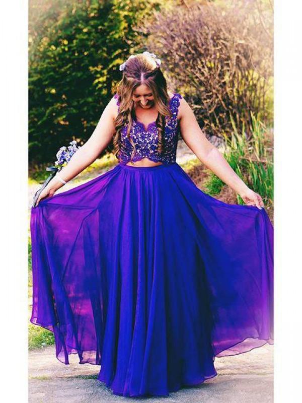 Floor-Length A-Line/Princess Straps Sleeveless Applique Chiffon Dresses