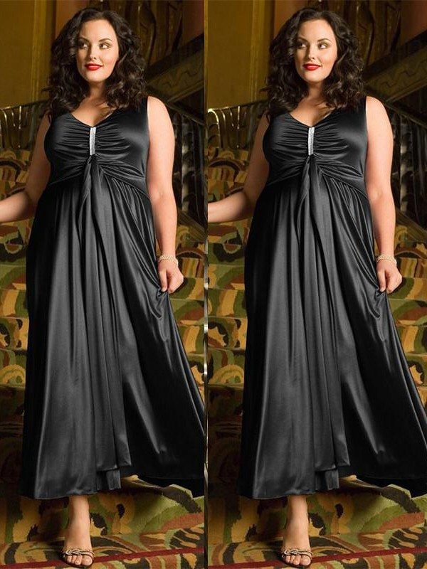 Ankle-Length A-Line/Princess V-neck Sleeveless Beading Elastic Woven Satin Dresses