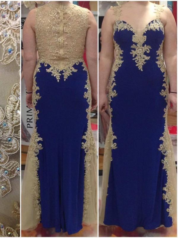 Floor-Length Sheath/Column Straps Sleeveless Applique Elastic Woven Satin Dresses