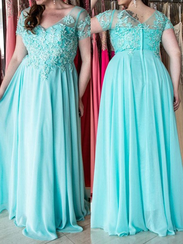 Floor-Length A-Line/Princess Sweetheart Short Sleeves Applique Chiffon Dresses