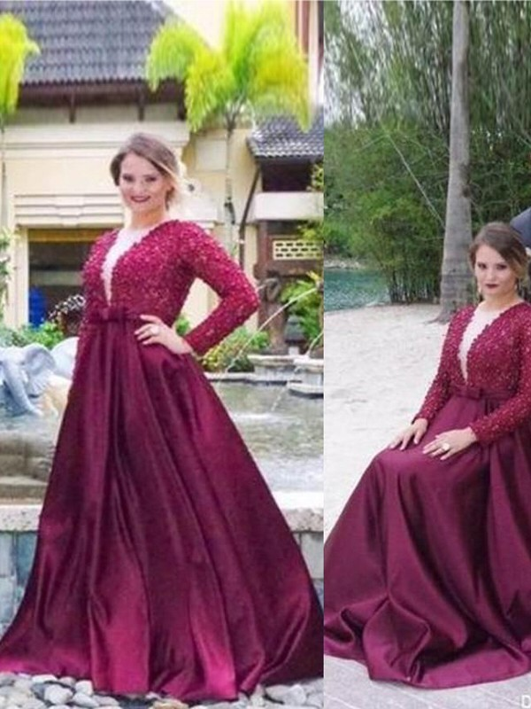 Sweep/Brush Train A-Line/Princess V-neck Long Sleeves Beading Satin Dresses