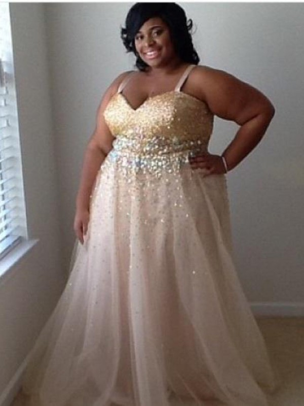 Floor-Length A-Line/Princess Spaghetti Straps Sleeveless Beading Tulle Dresses