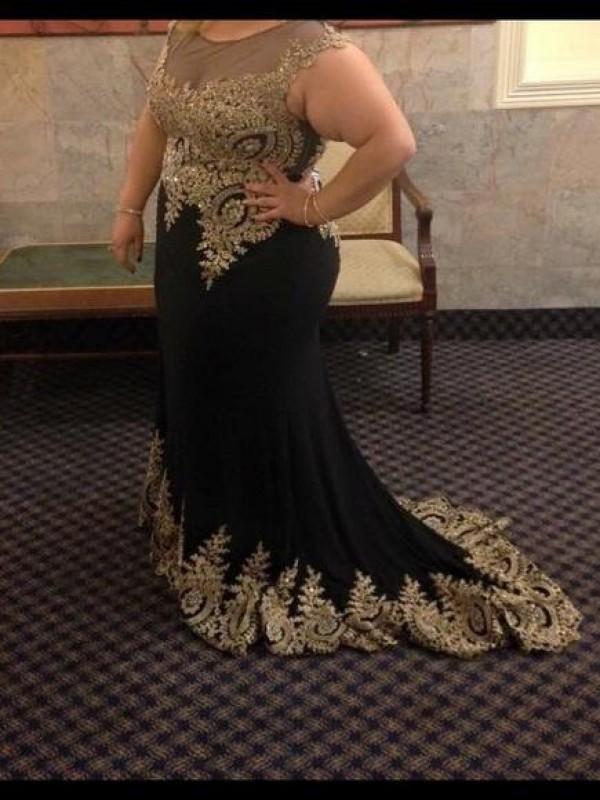 Sweep/Brush Train Trumpet/Mermaid Sheer Neck Sleeveless Applique Chiffon Dresses