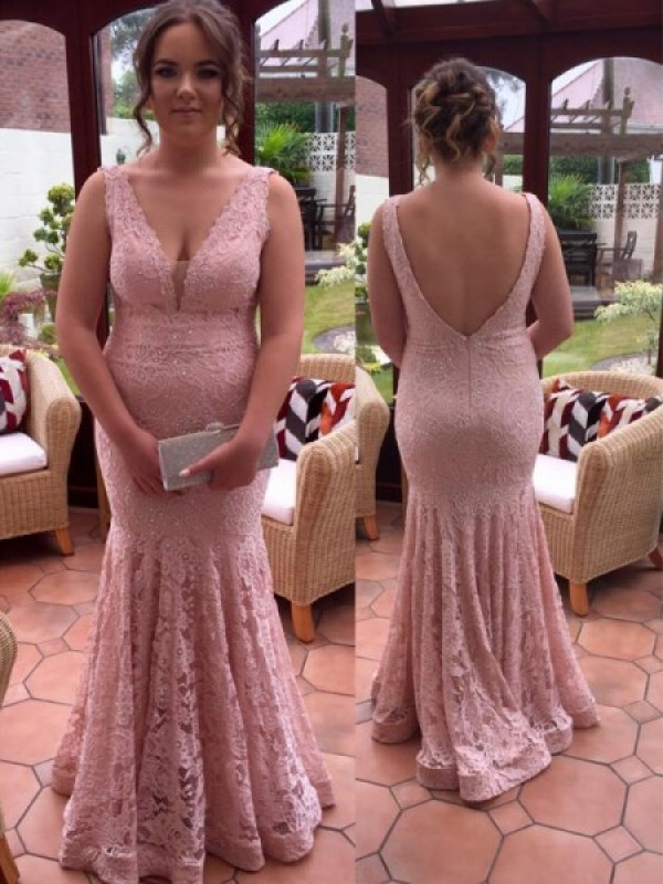 Floor-Length Trumpet/Mermaid V-neck Sleeveless Beading Lace Dresses