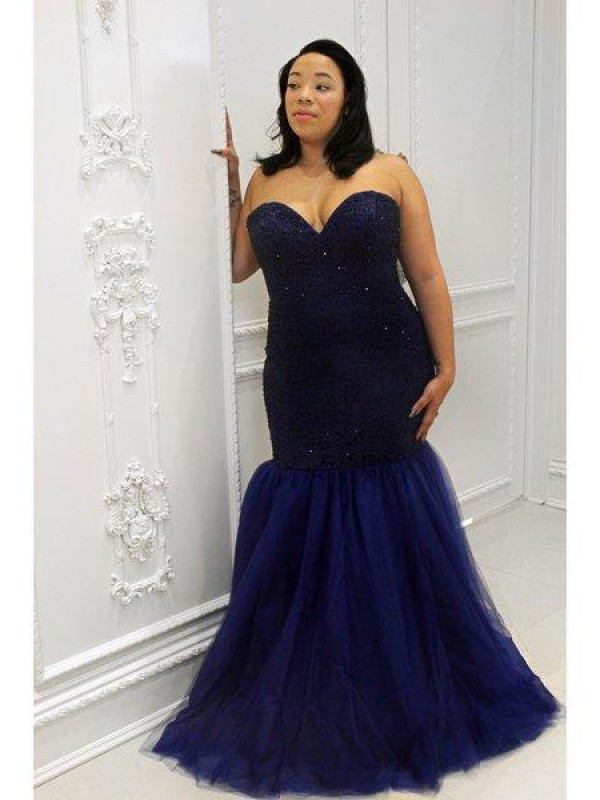 Floor-Length Trumpet/Mermaid Sweetheart Sleeveless Sequin Tulle Dresses
