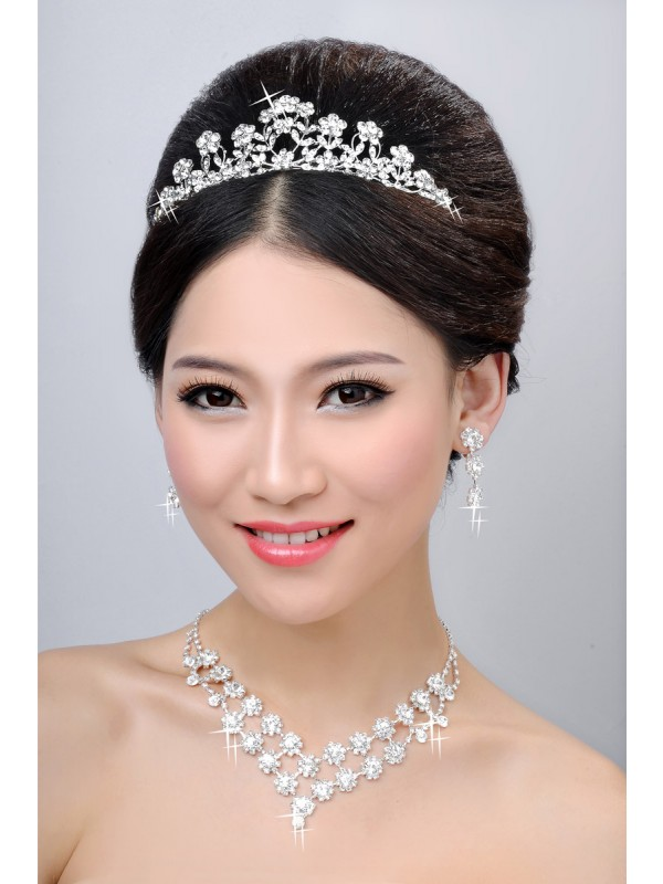 Gorgeous New Style Alloy Clear Crystals Flower Wedding Headpieces Necklaces Earrings Set
