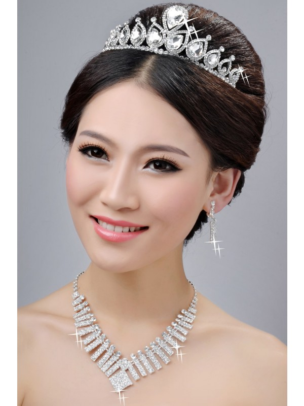 Gorgeous New Style Alloy Clear Crystals Wedding Headpieces Necklaces Earrings Set