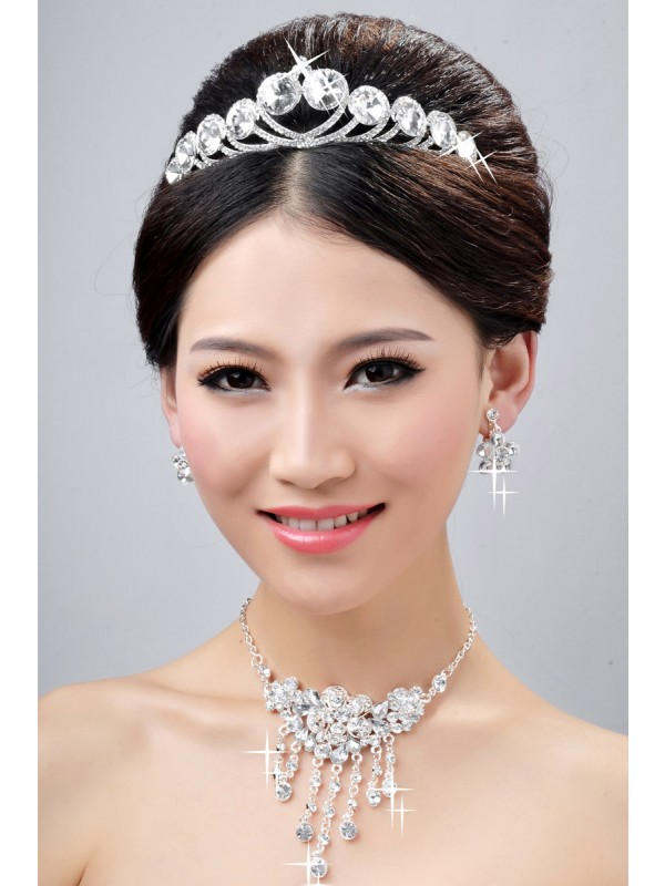 Gorgeous New Style Elegant Alloy Clear Crystals Flower Wedding Headpieces Necklaces Earrings Set