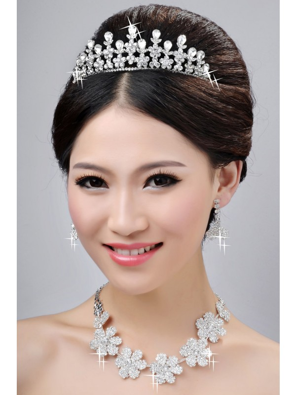 Gorgeous New Style Nice Alloy Clear Crystals Flower Wedding Headpieces Necklaces Earrings Set
