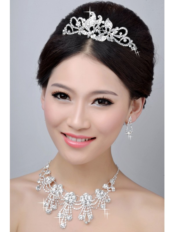 Gorgeous New Style Nice Alloy Clear Crystals Wedding Headpieces Necklaces Earrings Set