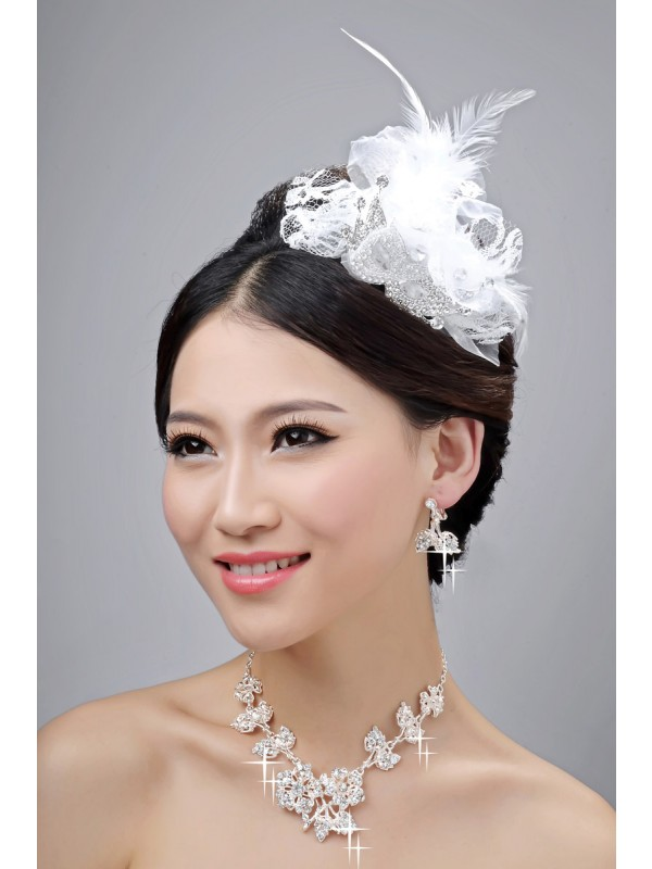 Gorgeous Nice Alloy Clear Crystals Flower Wedding Headpieces Necklaces Earrings Set