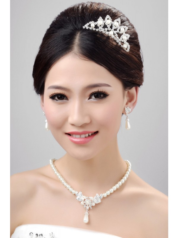 Gorgeous Nice Alloy Clear Crystals Pearl Wedding Headpieces Necklaces Earrings Set