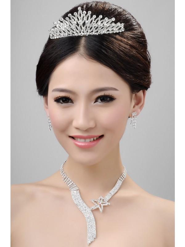 Gorgeous Nice Alloy Clear Crystals Wedding Headpieces Necklaces Earrings Set