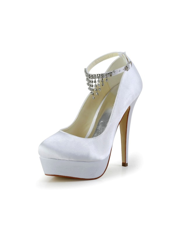 d5a1eebc0b02 The Most Trendy Women s Nice Satin Stiletto Heel Closed Toe With Rhinestone White  Wedding Shoes