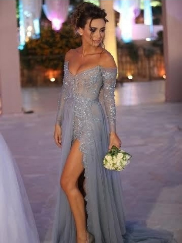 Sweep/Brush Train A-Line/Princess Off-the-Shoulder Long Sleeves Tulle Dresses With Applique